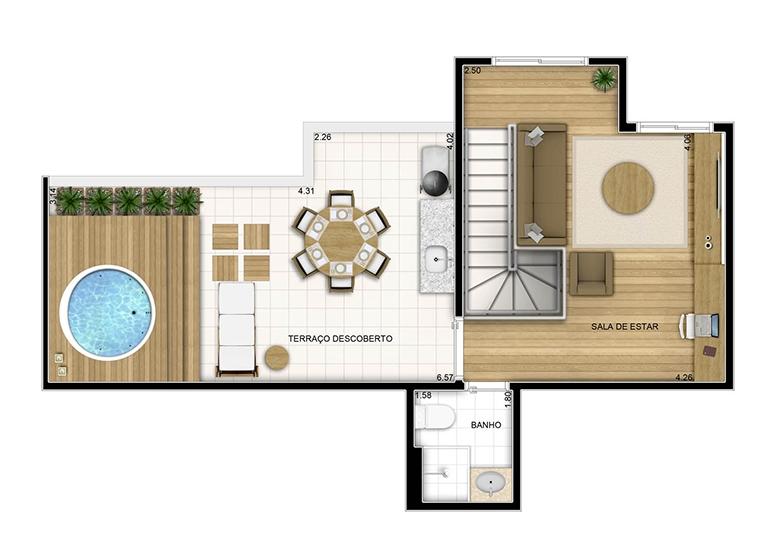 Duplex superior - 102.27m² - perspectiva ilustrada - Fatto Quality Vila Augusta