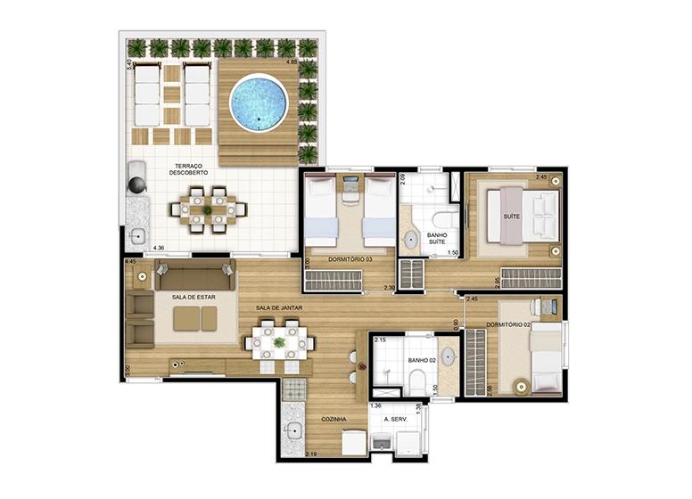 Maison - 89.25m² - perspectiva ilustrada