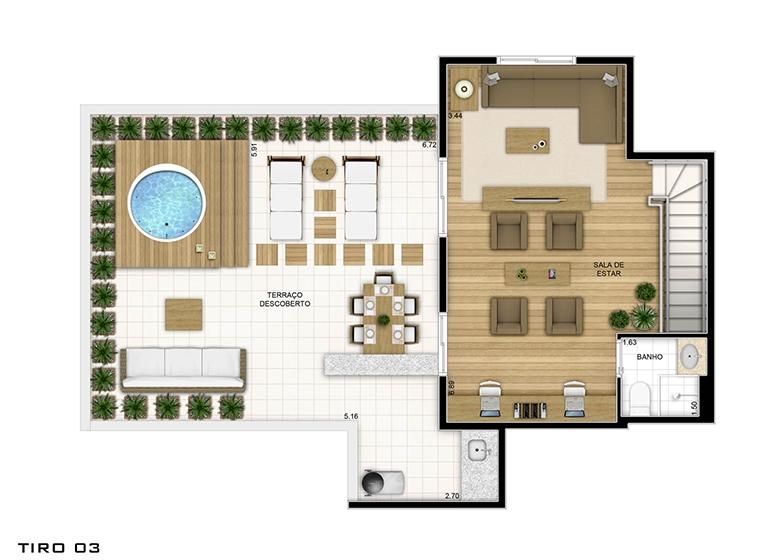 Duplex superior - 162.79m² - perspectiva ilustrada - Fatto Quality Vila Augusta