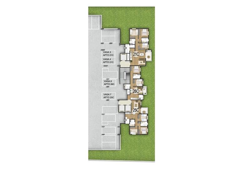 Unidade Confort -  2º subsolo - perspectiva ilustrada - Fatto Quality Vila Augusta