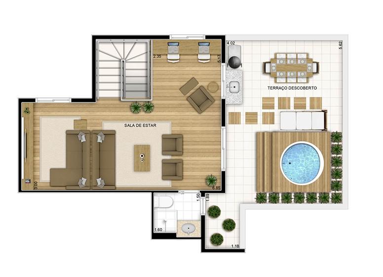 Duplex superior - 126.64m² - perspectiva ilustrada