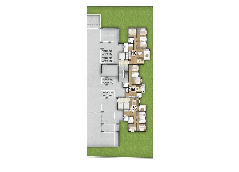 Unidade Confort -  1º subsolo - perspectiva ilustrada - Fatto Quality Vila Augusta