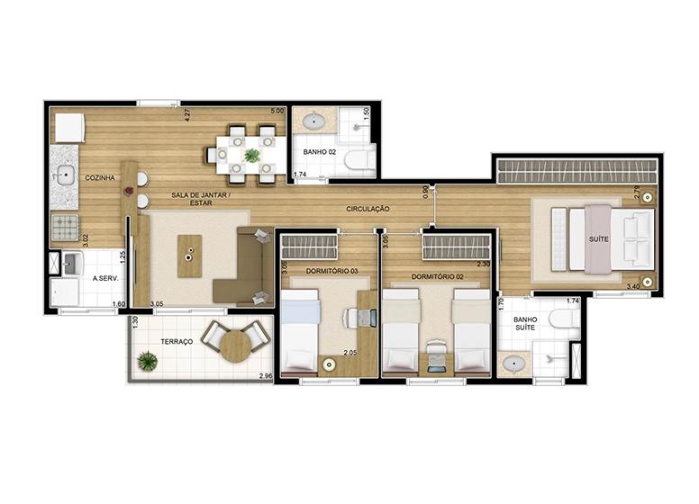3 dorms. - 66.86m² - perspectiva ilustrada - Fatto Quality Vila Augusta