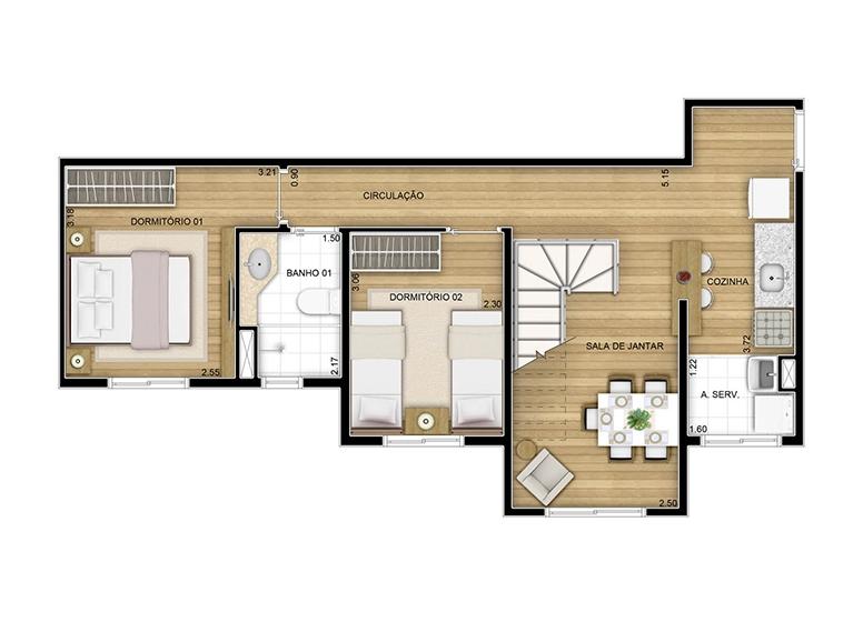 Duplex inferior - 96.86m² - perspectiva ilustrada