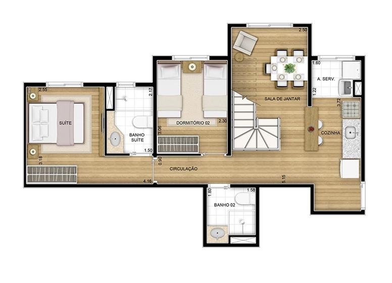 Duplex inferior - 102.27m² - perspectiva ilustrada