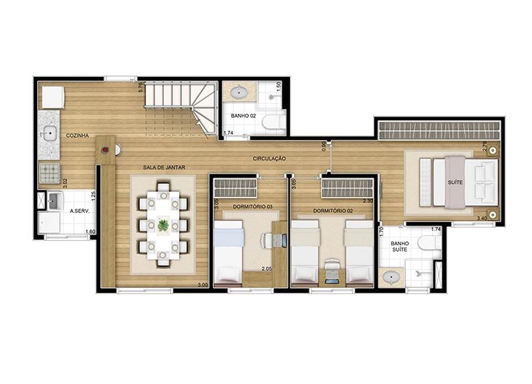 Duplex inferior - 128.29m² - perspectiva ilustrada
