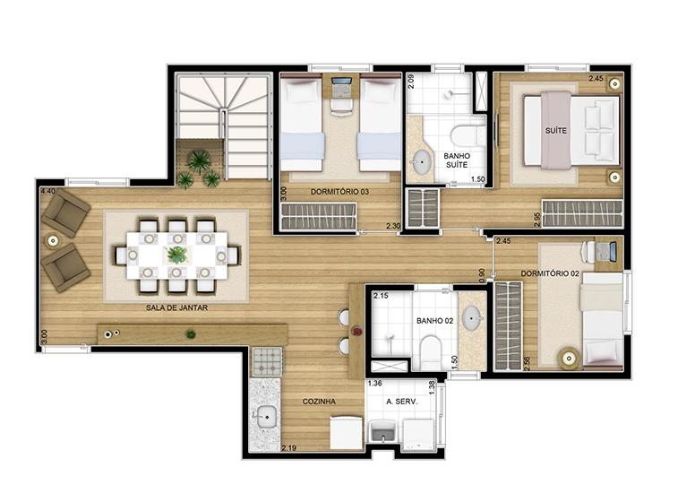 Duplex inferior - 126.64m² - perspectiva ilustrada - Fatto Quality Vila Augusta