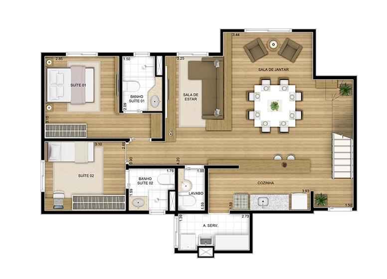 Duplex inferior - 162.79m² - perspectiva ilustrada