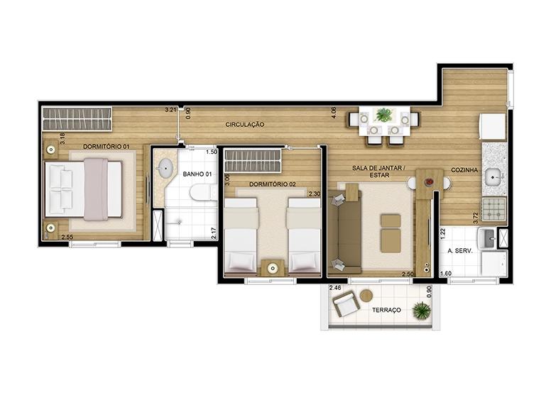 2 dorms. - 49.80m²  - perspectiva ilustrada - Fatto Quality Vila Augusta