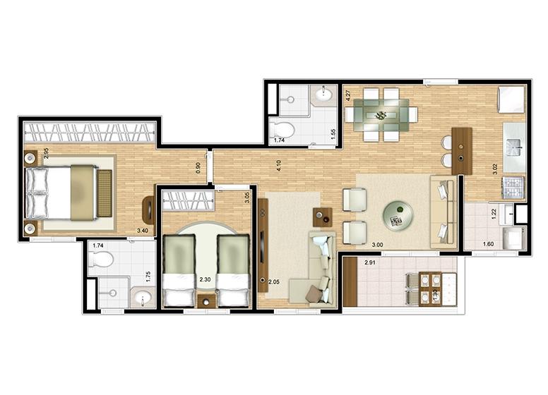Planta 3 dorms sala ampliada 66m² - perspectiva ilustrada - Fatto Lago dos Patos
