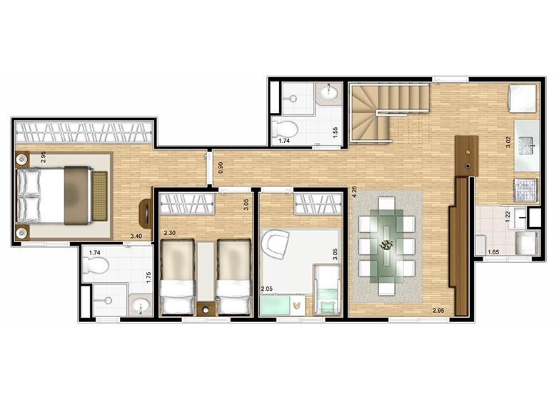 Cobertura duplex inferior 128m² - perspectiva ilustrada - Fatto Lago dos Patos