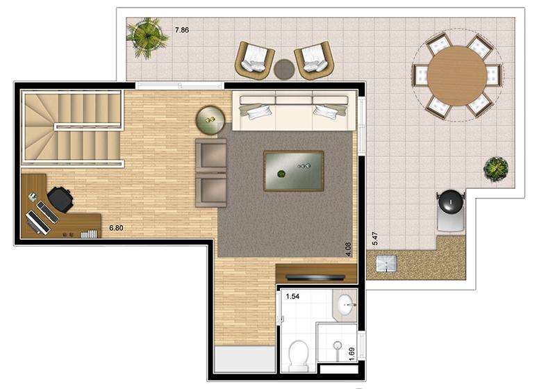 Cobertura duplex superior 110m² - perspectiva ilustrada - Fatto Lago dos Patos