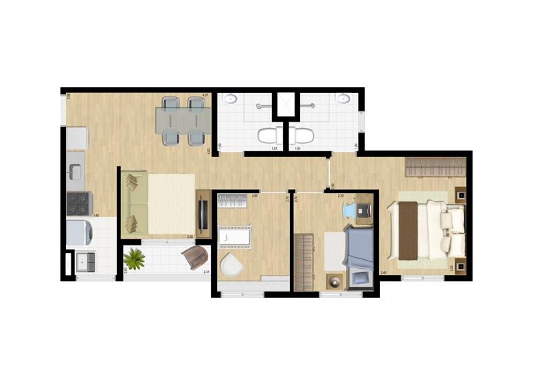Planta 3 dorms c/ suíte 56m² - perspectiva ilustrada