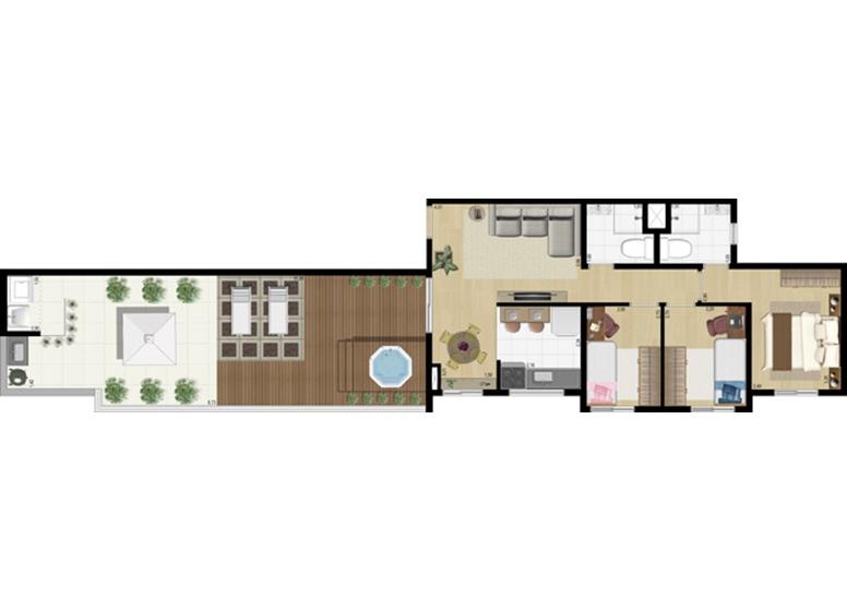 Penthouse 3 dorms c/ suíte 99m² - perspectiva ilustrada