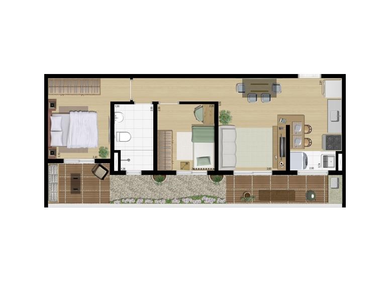 Giardino 2 dorms. 58m² - perspectiva ilustrada