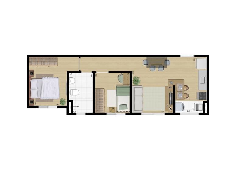 Planta 2 dorms 43m² - perspectiva ilustrada - Fatto Sport Faria Lima