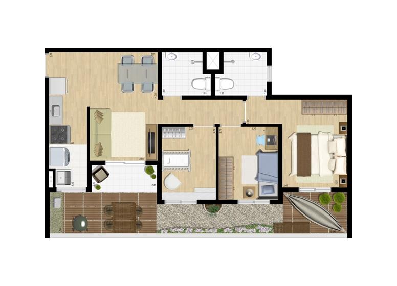 Giardino 3 dorms c/ suíte 73m² - perspectiva ilustrada