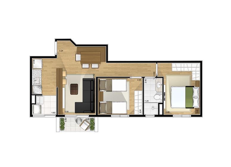 Planta 2 dorms 49,61m² - perspectiva ilustrada - Fatto Santo Andre