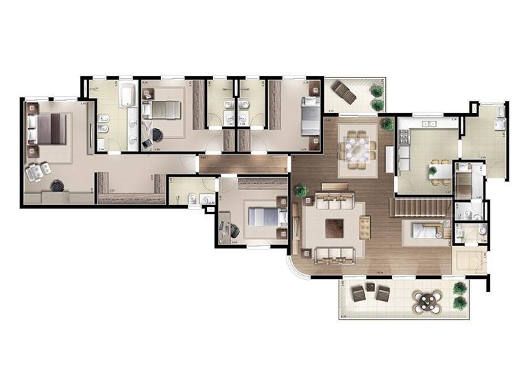 Cobertura inferior 4 suítes 437m² - perspectiva ilustrada - House & Garden Vanilla