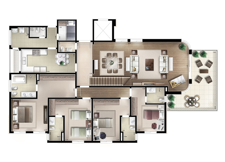 Cobertura inferior 4 suítes 402m² - perspectiva ilustrada - House & Garden Vanilla