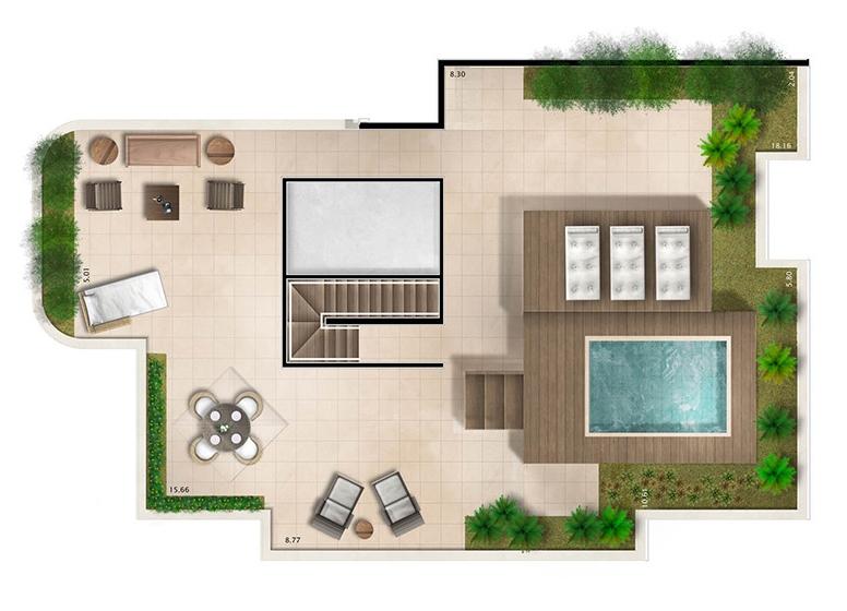 Cobertura superior 4 suítes 404m² - perspectiva ilustrada - House & Garden Vanilla