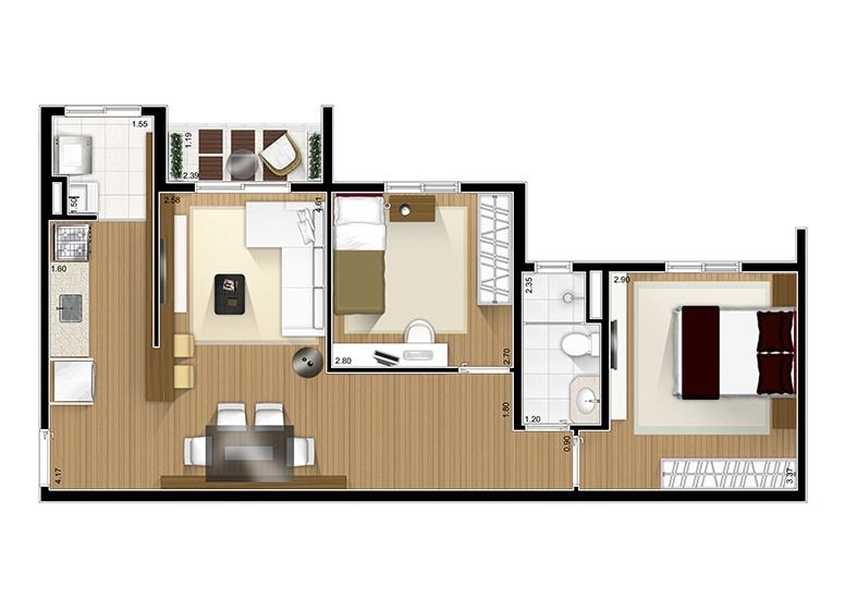 2 Dorms. - 58,87m²  - Fatto São Caetano