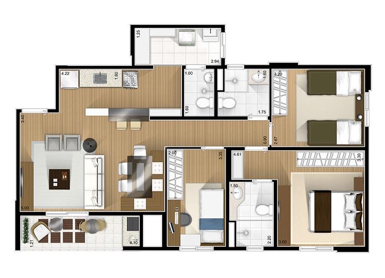 3 Dorms 82.50m²  - Fatto São Caetano
