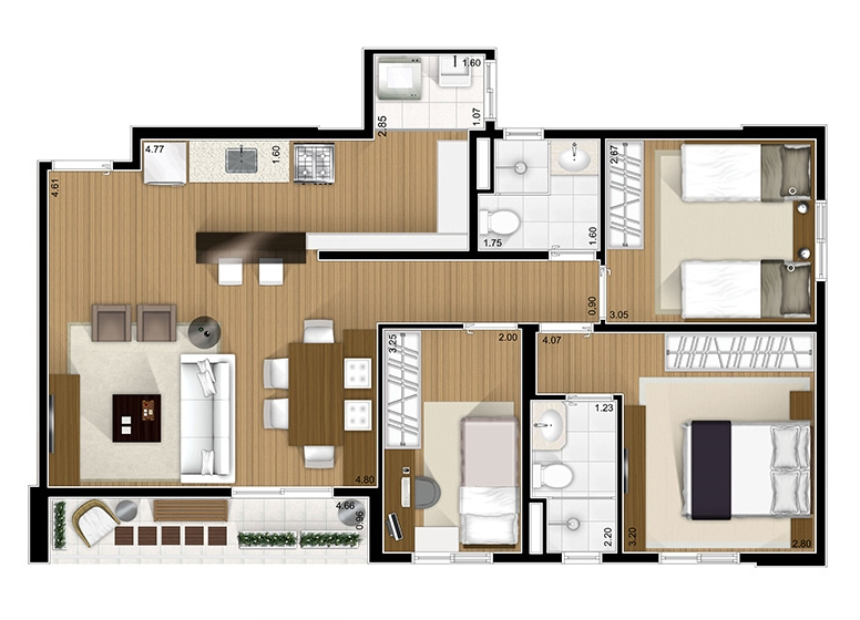 3 Dorms -  75.08m²  - Fatto São Caetano