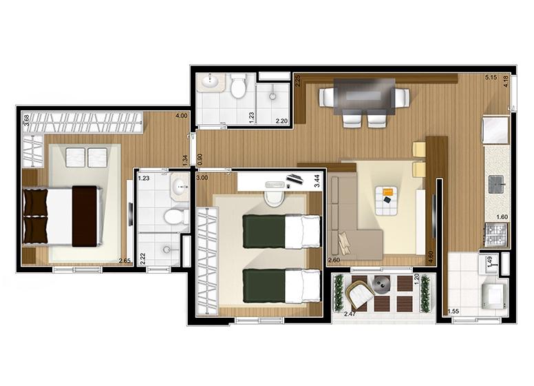 2 Dorms com suíte - 63.95m²  - Fatto São Caetano