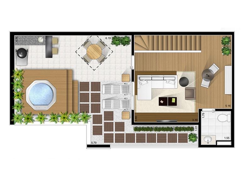 Duplex superior 2 dorms. com suíte  - Fatto São Caetano