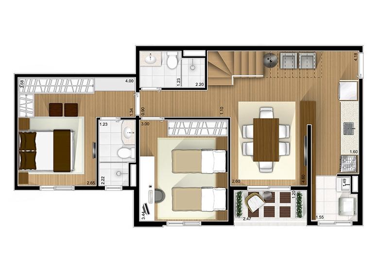 Duplex inferior 2 dorms. com suíte  - Fatto São Caetano