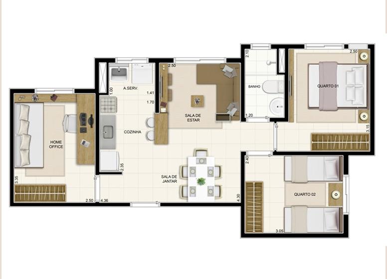 2 Dormitórios 52m² - Certto Home Club