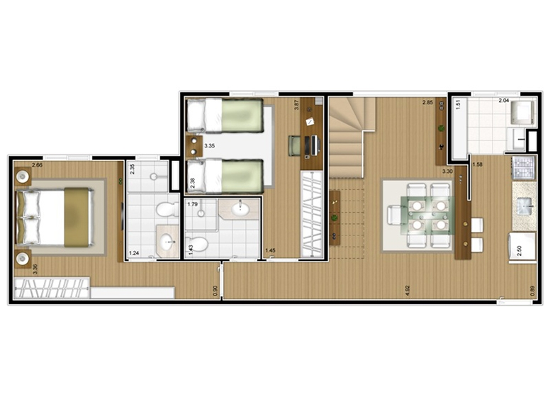 Planta Duplex Inferior 2 dorms c/ suíte 117m² - perspectiva ilustrada - Fatto Mansões