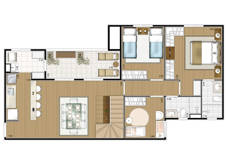 Planta Duplex Inferior 3 dorms c/ suíte 156m² - perspectiva ilustrada - Fatto Mansões