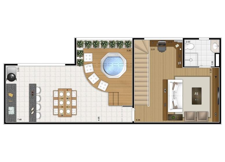 Planta Duplex Superior 2 dorms c/ suíte 117m² - perspectiva ilustrada - Fatto Mansões