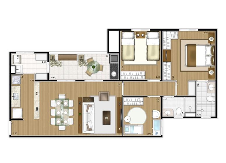 Planta 3 dorms c/ suíte 80m² - perspectiva ilustrada - Fatto Mansões