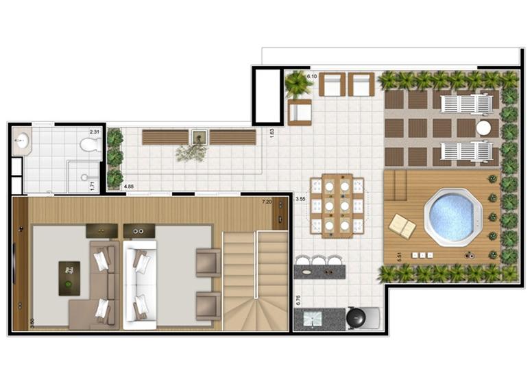 Planta Duplex Superior 3 dorms c/ suíte 156m² - perspectiva ilustrada - Fatto Mansões