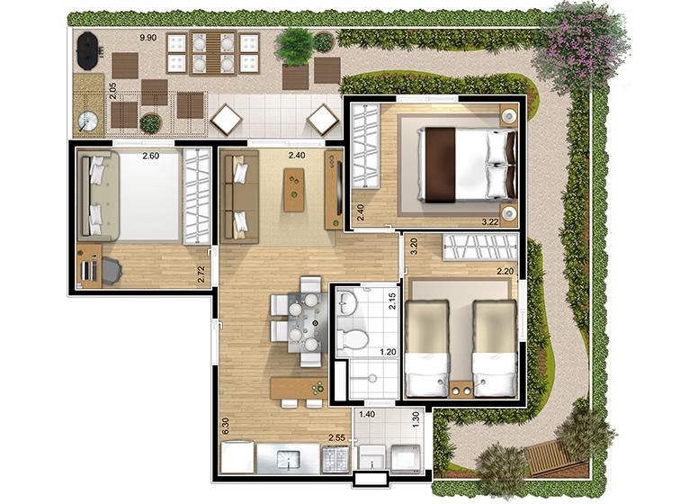 Giardino 3 dorms. - perspectiva ilustrada - Marcco Sorocaba