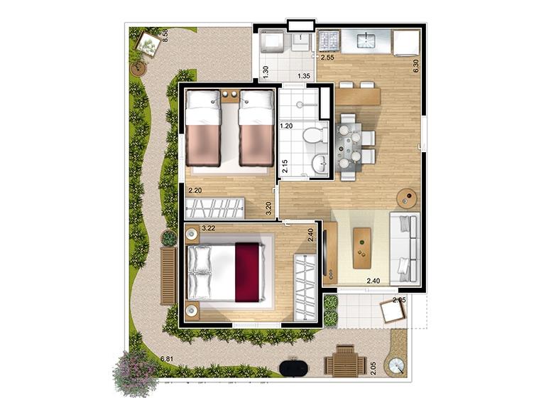 Giardino 2 dorms. - perspectiva ilustrada - Marcco Sorocaba