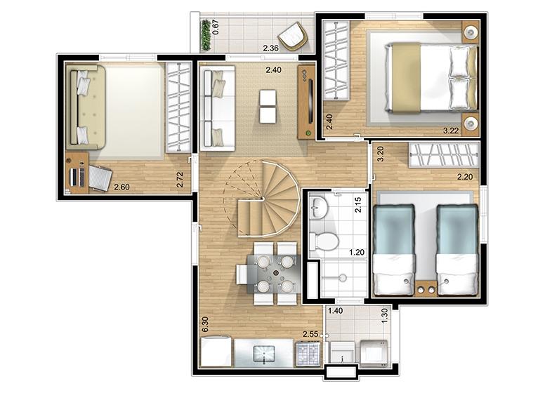 Duplex Inferior 3 dorms. - perspectiva ilustrada - Marcco Sorocaba