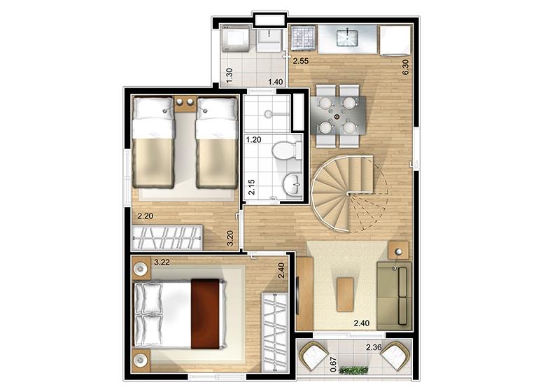 Duplex Inferior 2 dorms. - perspectiva ilustrada - Marcco Sorocaba