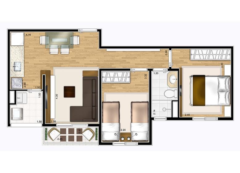 Apto Tipo 2 dorms 46,86m² - perspectiva ilustrada