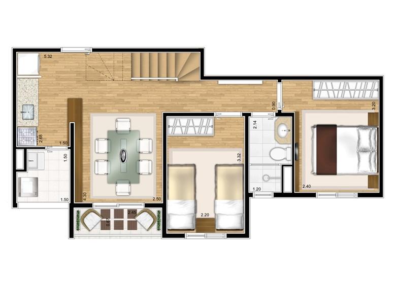 Duplex Inferior 2 dorms 92,88m² - perspectiva ilustrada