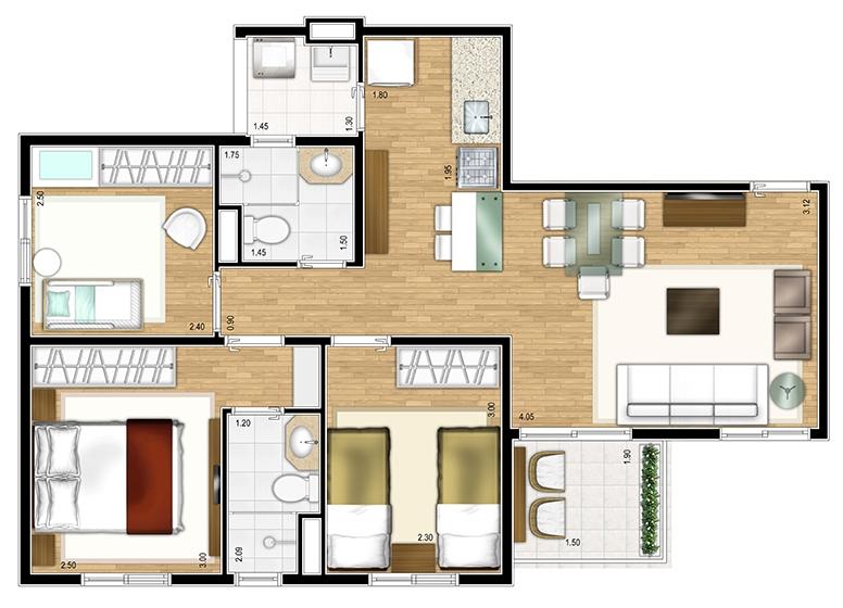 Apto Tipo 3 dorms c/ suíte 61,66m² - perspectiva ilustrada