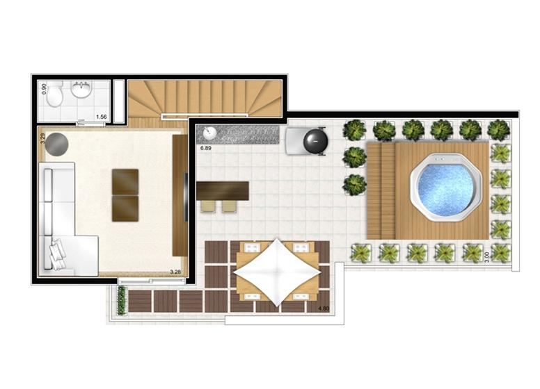 Duplex Superior 2 dorms 92,88m² - perspectiva ilustrada