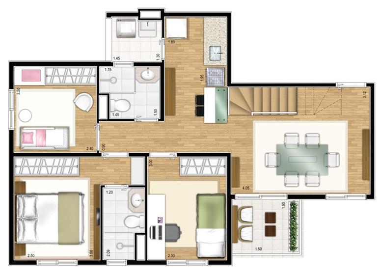 Duplex Inferior 3 dorms c/ suíte 121,07m² - perspectiva ilustrada