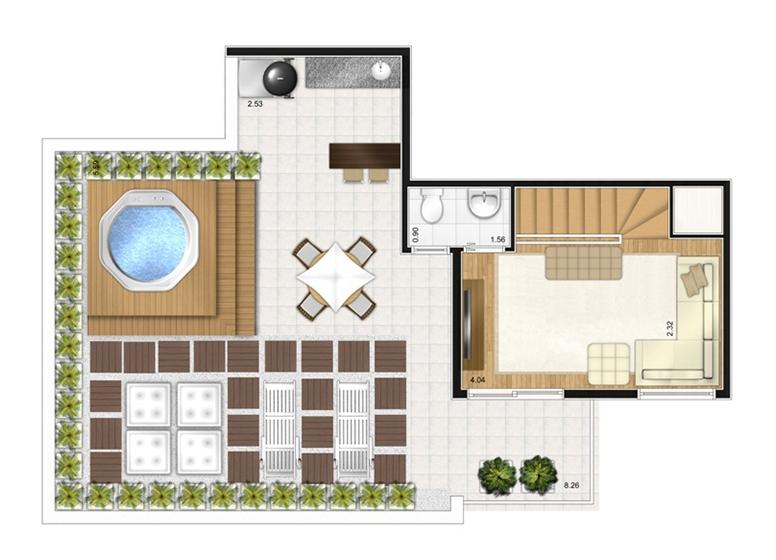 Duplex Superior 3 dorms c/ suíte 121,07m² - perspectiva ilustrada