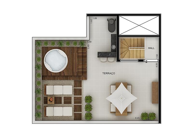 Cobertura duplex superior 3 dorms - perspectiva ilustrada - Novo Fatto Diadema