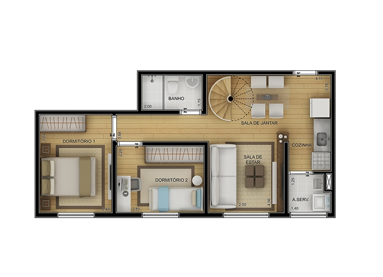 Cobertura duplex inferior 2 dorms - perspectiva ilustrada