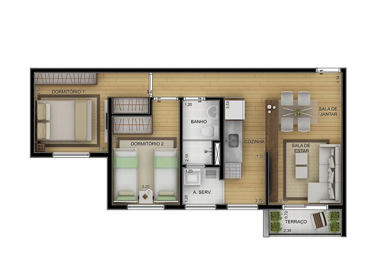 Planta 2 dorms 45m² - perspectiva ilustrada - Novo Fatto Diadema